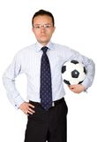Business man with football Royalty Free Stock Photography
