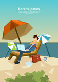 Business Man Freelance Remote Working Place On Sunbed Businessman Royalty Free Stock Image