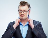 Business man funny portrait. Isolated. royalty free stock photo