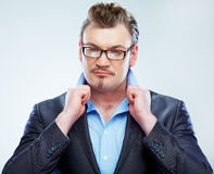 Business man funny portrait. Isolated. Stock Photos