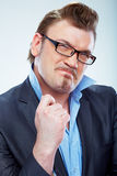 Business man funny portrait. . Royalty Free Stock Image