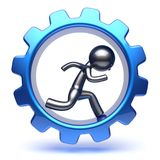 Business man gear wheel character cartoon guy run inside. Business man gear wheel character cartoon guy running run inside rotate cogwheel stylized human hamster Royalty Free Stock Image
