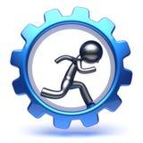 Business man gear wheel character cartoon guy run inside Royalty Free Stock Image