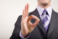 Business Man Gestures. OK suggesting congratulations, consent, acceptance, etc Stock Photography