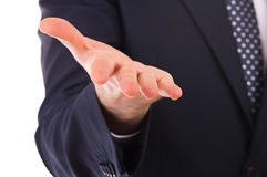 Businessman gesturing with hand. Royalty Free Stock Images