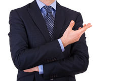 Businessman gesturing with hand. Royalty Free Stock Image