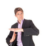 Business man gesturing, lets talk. Stock Photo