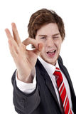 Business man gesturing OK Stock Image