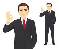 Business man gesturing ok. Sign vector illustration Royalty Free Stock Images