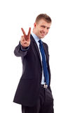 Business man gesturing victory Stock Image