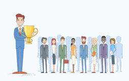 Business Man Get Prize Businesspeople Group Team Royalty Free Stock Images