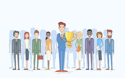 Business Man Get Prize Cup Businesspeople Group Team Leader Success Concept Stock Photos