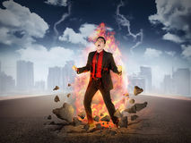 Business Man Get Rage With Flame Over His Body Royalty Free Stock Photography