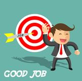 Business man get to target. Business man and success icon vector Royalty Free Stock Photos
