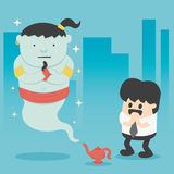 Business man with giant in magic lamp. Illustration Cartoons concepts vector illustration