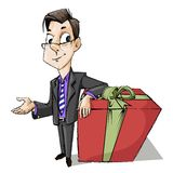 Business Man with Gift Box Stock Photography