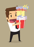 Business man with a gift box, that was a special case Royalty Free Stock Photography