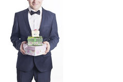 Business man with gifts (horizontal image). Business man with gifts (vertical image). A businessman offering a gift to you (selective focus Stock Image