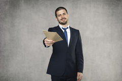 Business man give a bribe Stock Photo