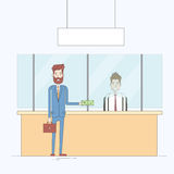 Business Man Give Cash Dollar Bank Office Worker Payment Tax Businessman Stock Photo