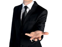 Business man give hand. Isolated business man give hand Royalty Free Stock Photography