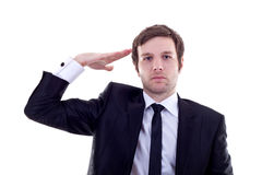 Business man gives salute Royalty Free Stock Image