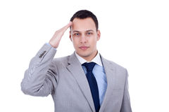 Business man gives salute Royalty Free Stock Photos