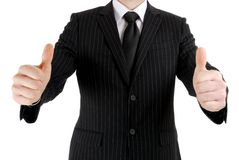 Business man giving double thumbs up Royalty Free Stock Photos