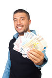 Business man giving euro banknotes Stock Photos