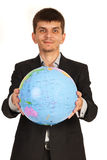 Business man giving globe Royalty Free Stock Image