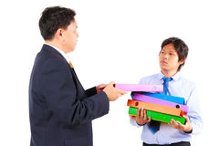 Business man giving jobs to worker Royalty Free Stock Photography
