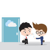 Business man giving keys for file sharing on cloud computing with customer, illustration vector in flat design. Business man giving keys for file sharing on Royalty Free Stock Image