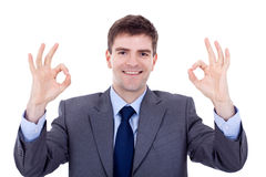 Business man giving OK Royalty Free Stock Image