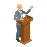 Business man giving a presentation in a conference or meeting setting. Orator speaking from tribune vector illustration. Royalty Free Stock Image