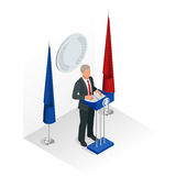 Business man giving a presentation in a conference or meeting setting. Orator speaking from tribune vector illustration. Royalty Free Stock Photos