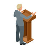 Business man giving a presentation in a conference or meeting setting. Orator speaking from tribune vector illustration. Stock Photo