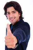Business man giving thumbs up. In white background stock images