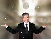 Business man with glass bubbles Stock Image