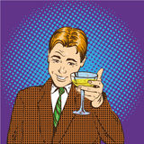 Business man with glass of champagne celebrates closed deal. Cheers and party concept vector illustration in retro pop Royalty Free Stock Photos