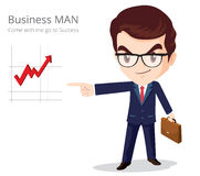 Business Man Glasses character. Vector of Business man character look so smart pointing graph go to success Stock Photography