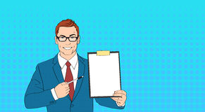 Business Man In Glasses Point Pen At Empty Paper Clip Board Pop Art Colorful Retro Style. Vector Illustration Royalty Free Stock Image