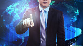 Business man and global communication network background Royalty Free Stock Images