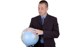 Business man with globe. Business man holding a globe in hands..looking for a location..isolated on white Stock Photos