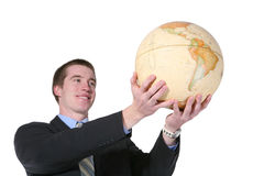 Business Man with Globe Royalty Free Stock Photo