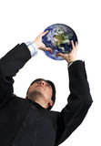 Business man with globe over white Royalty Free Stock Images