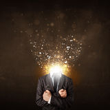 Business man with glowing exploding head. Concept royalty free stock image