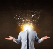 Business man with glowing exploding head Stock Photo
