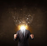 Business man with glowing exploding head Stock Photography