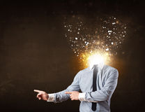 Business man with glowing exploding head Stock Images