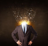 Business man with glowing exploding head Stock Illustration